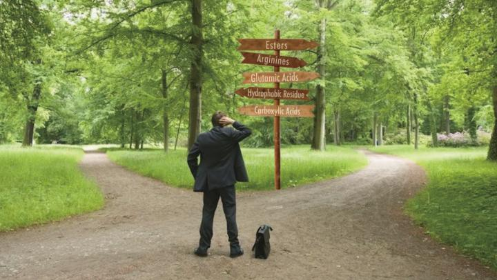 A man is standing on a crossroad, trying to decide about his career. We can see two ways and a signpost with many directions.