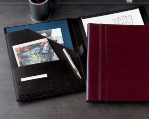 Nice work portfolio in red leather cover.