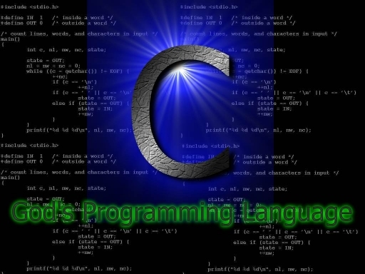 Funny picture that says that C is God's programming language. We can see big letter C on the picture