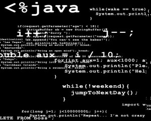 The illustration of a programmer's mind. We can see lines of code in java on the black screen