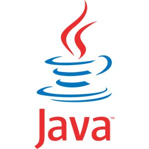 Java language official logo, in red and blue colors. The steam is rising from an imaginary cup of coffee