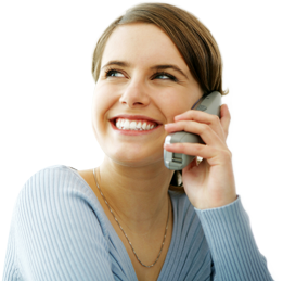 One of the phone interview tips is to smile on the phone, a woman smiling while talking to an employer is demonstrating how you should do it.