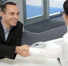 Handshake at the end of a successful interview.