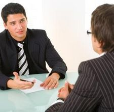 Two men speak in the interview for process engineering job