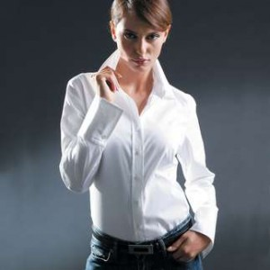 woman in eye catching interview blouse