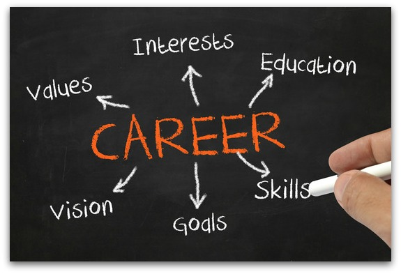A picture illustrates the things we should consider when choosing our career - our interests, values, goals, etc.