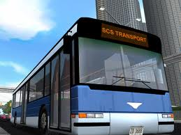 A city bus, blue and gray color. We can see SCS Transport label on the top of the bus.