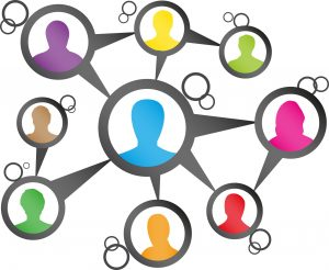 Illustration of social connections, faces of people in circles.