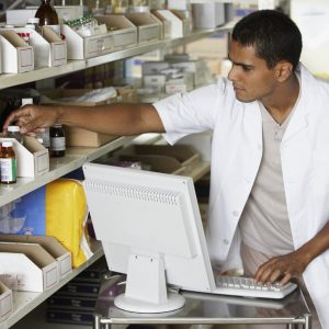 Pharmacy technician in work -an illustration