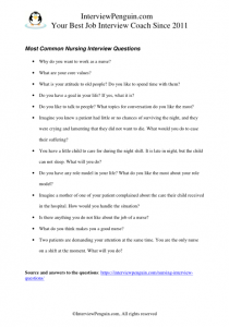 Nursing Interview Questions and Answers - Interview Penguin