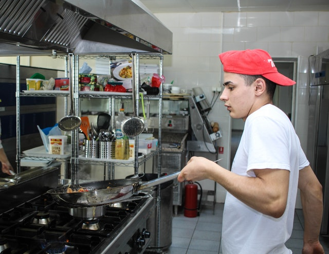 young worker in the kitchen