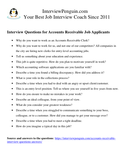 questions for job interview for accounts receivable clerks