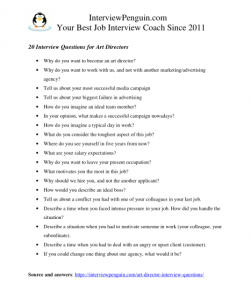 interview questions for directors of art, in pdf document