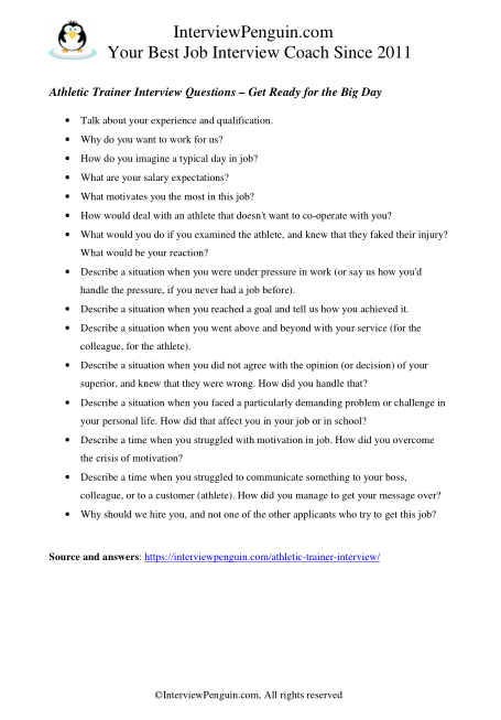 interview questions for athletic trainer