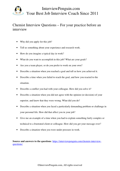 interview questions for chemists in a pdf