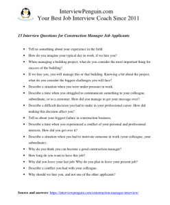 interview questions for managers at construction site, in pdf