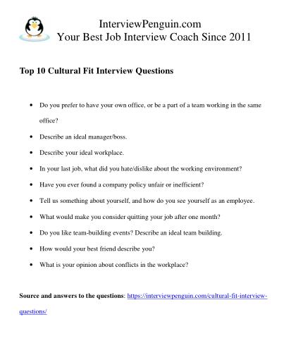 pdf interview questions about cultural fit