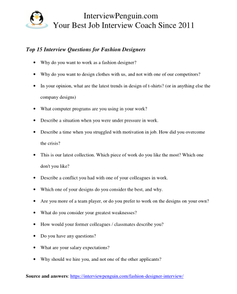 15 Most Common Fashion Designer Interview Questions Answers