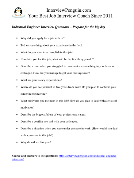 interview questions for industrial engineer in pdf