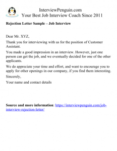 Rejection Email After Interview Template from interviewpenguin.com