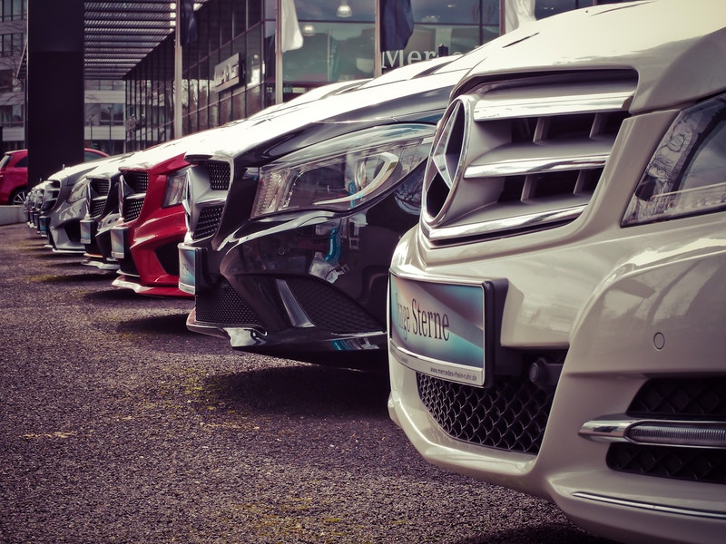 Nice row of new Mercedes Benz cars