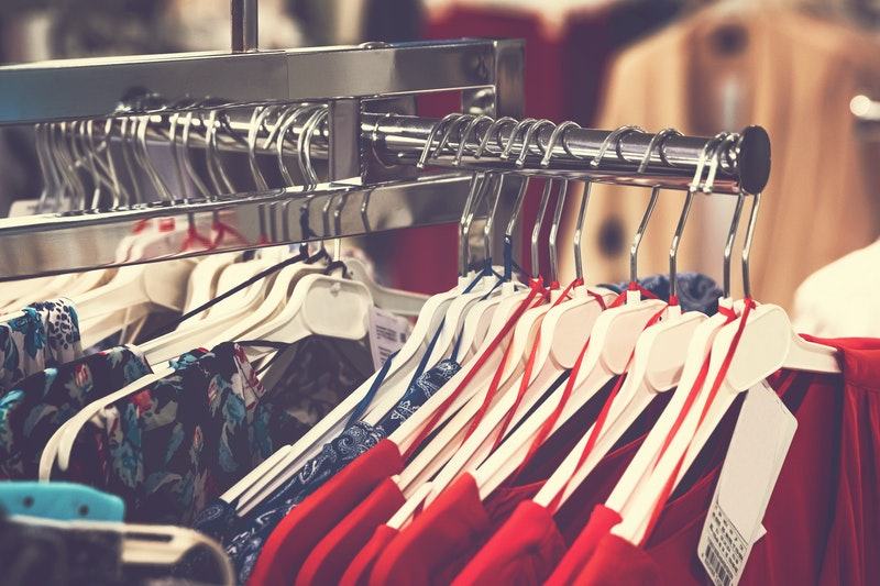 assorted clothes in an apparel store